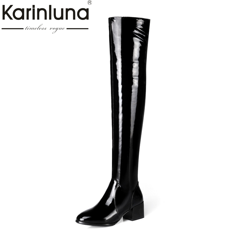 KARINLUNA 2017 Large Size 31 45 genuine leather and pu women shoes woman long boots autumn