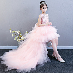 Image 2 - Performance Show Prom Flower Girl Wedding Dresses Kids Trailing Layered  Party Princess Birthday Dress First Communion Gown