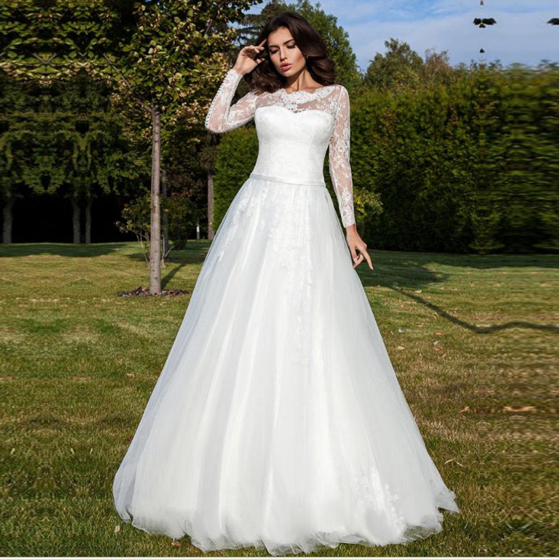 Vestido De Noiva Tulle Long Sleeve Wedding Dress Appliques Lace  Bridal Gowns Custom Made Back Button Bride Dresses