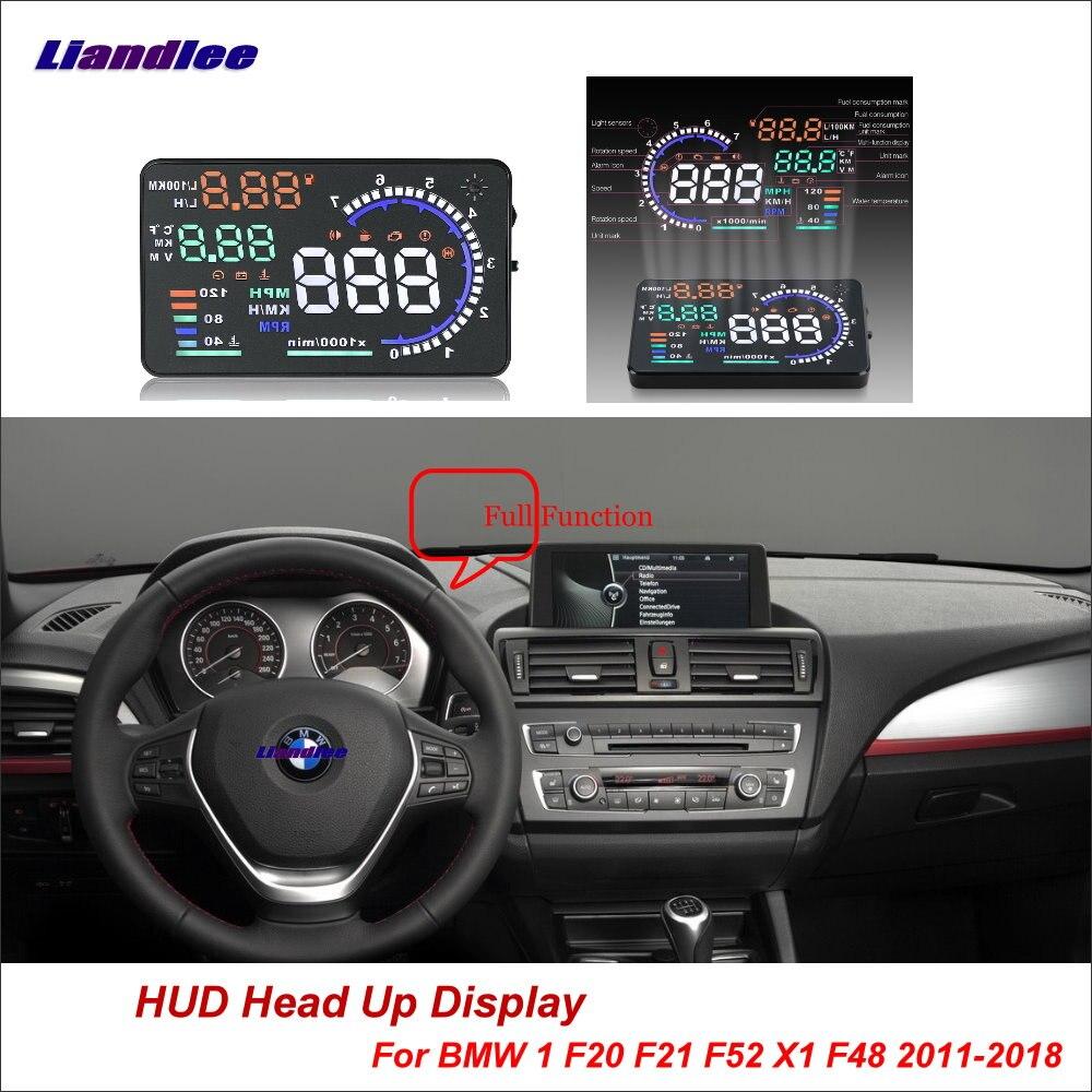 Liandlee voiture affichage tête haute HUD pour BMW 1 F20 F21 F52 X1 F48 2011-2018 HD écran de projecteur OBD détecteur d'alarme de survitesse
