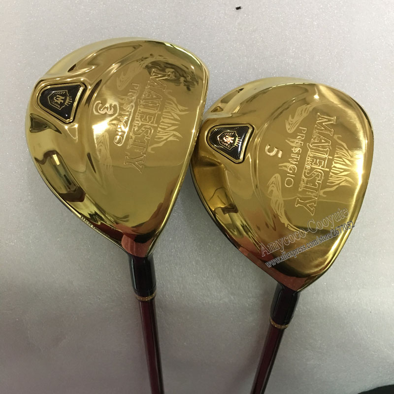New Cooyute Golf Clubs Maruman Majesty Prestigio 9 Golf Fairway Woods 3/15 5/18 grafit Golfaxel trähuvud Gratis frakt