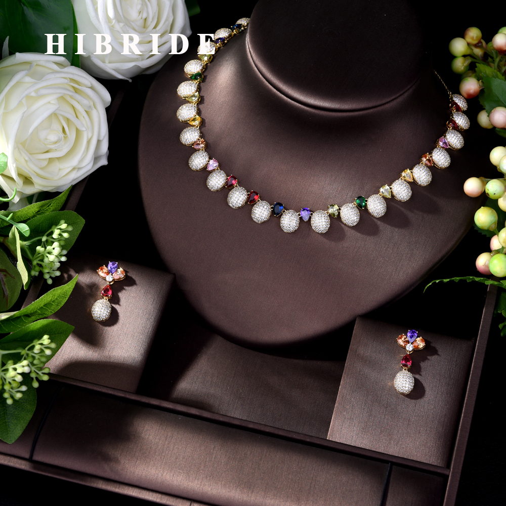 HIBRIDE Luxury Bridal Wedding Jewelry Sets New Sparkling AAA Cubic Zircon New Design 2pcs Jewelry Set Women Weddings Party N-605HIBRIDE Luxury Bridal Wedding Jewelry Sets New Sparkling AAA Cubic Zircon New Design 2pcs Jewelry Set Women Weddings Party N-605