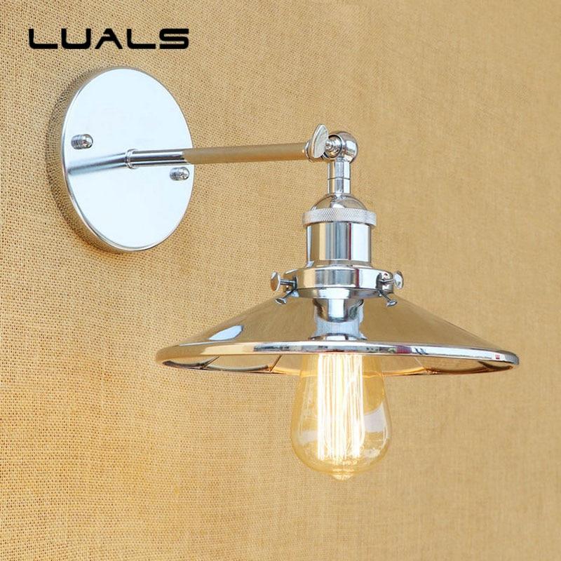 Industrial Wall Light Chrome: Loft Style Retro Wall Lamp Creative Metal Chrome Plated