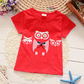 Meninos T-Camisas Dos Miúdos Dos Desenhos Animados Da Coruja Tee Encabeça Meninas Do Bebê Roupas de Algodão Crianças Roupas de Impressão Criança 1-4 T