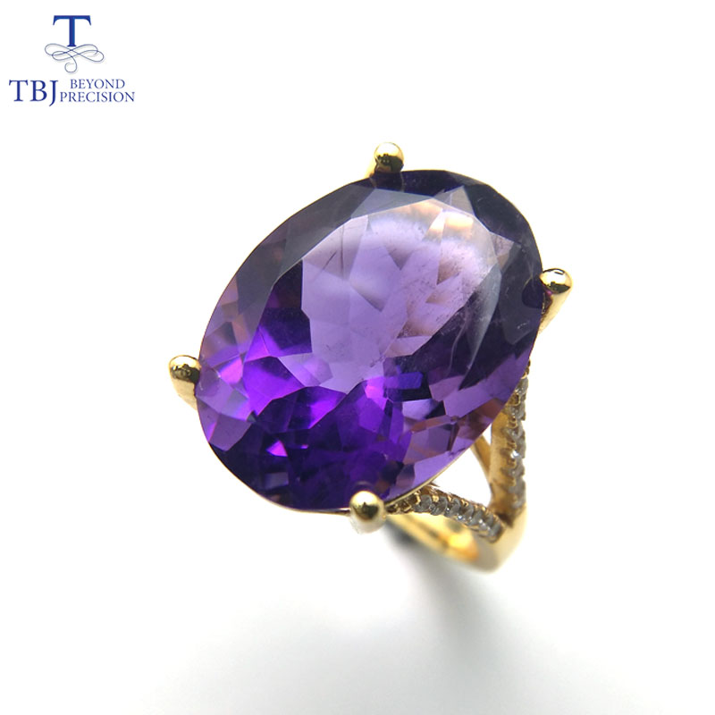 TBJ,Natural Big african deep color amethyst gemstone Ring in 925 sterling silver for party or Anniversary gift for lady with boxTBJ,Natural Big african deep color amethyst gemstone Ring in 925 sterling silver for party or Anniversary gift for lady with box