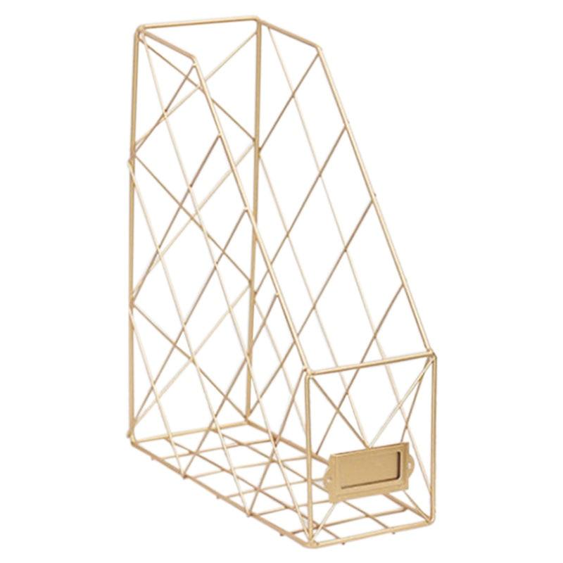 Скандинавские креативные органайзеры для журналов Ins, полированный металл, железная папка для документов, для офиса, рабочего стола, сетка для файлов - Цвет: Золото