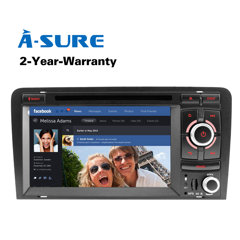 A-Sure Radio Car DVD GPS For Audi A3 S3 RS3 2002-2011 With 3G GPS SWC RDS DAB+ Rear USB Port Bluetooth Navigation
