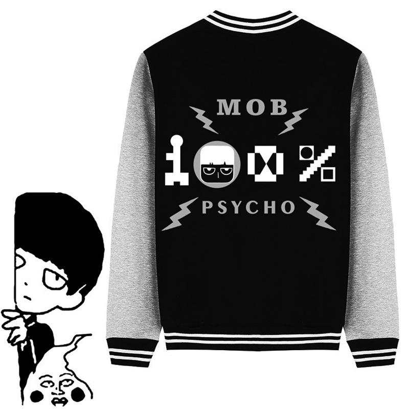 Anime Mob Psycho 100 Mob Autumn Winter Baseball Jacket Coat Cartoon Hooded Sweatshirts For Adult Women Men