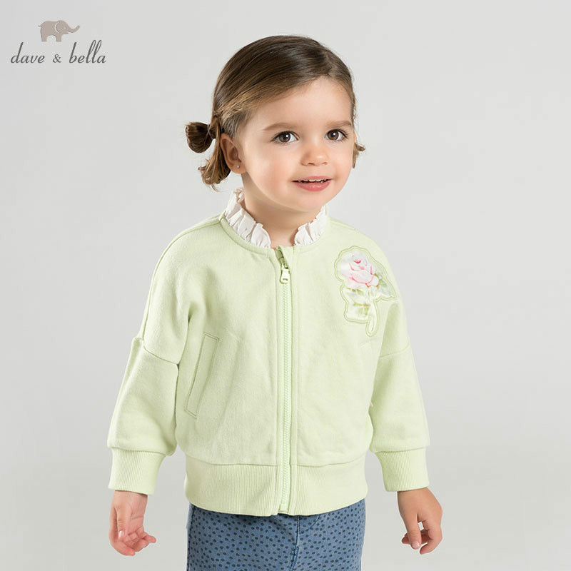 DB10170 dave bella spring baby girl lovely jacket children fashion outerwear kids light floral coat