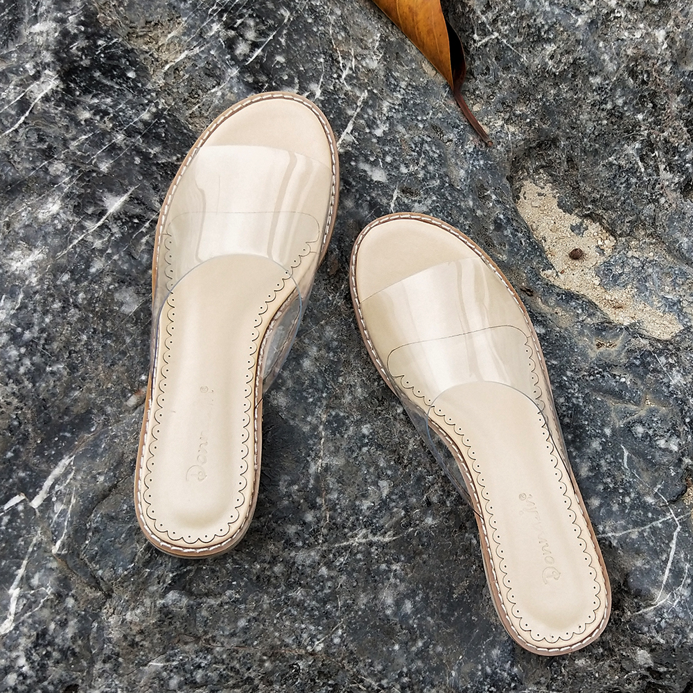 b9456998bd7 Donna in PVC Transparent Sandals Clear Shoes Low Heel Crystal Slippers  Casual Slides Beach Comfortable Women Jelly 2019 Summer-in Low Heels from  Shoes on ...