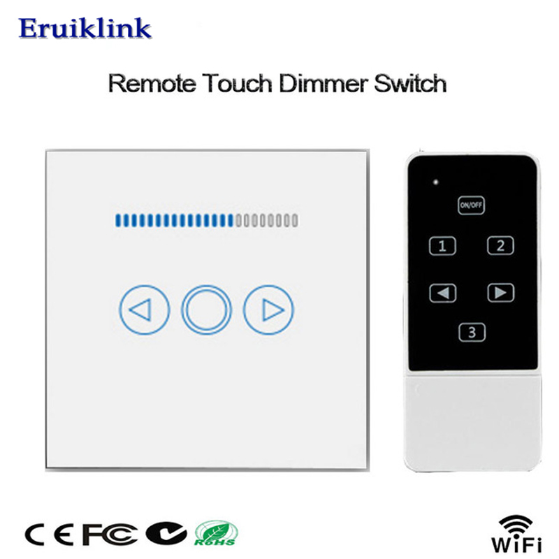 Eruiklin EU/UK Standard Crystal Touch Glass and Remote Control Light Dimmer Switch, Light Touch Dimmer Switch for Smart Home uk 1gang dimmer led touch switches black crystal glass panel light wall switch remote smart home 220v 110v free shipping