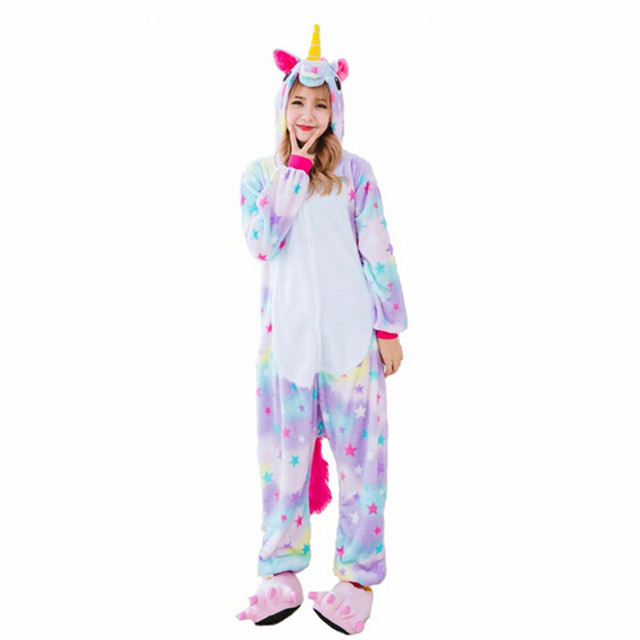 Nuevo Invierno Mujeres Adultas Pijamas Pijamas Animal Anime Pijamas Encapuchados Homewear Pijama de Franela Unicornio Estrella Puntada Totoro