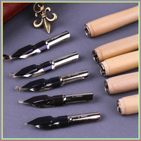 5 Pieces Ink Wood Pen Great Master Professional Comics Dip Pen Fountain Pens With PU Leather