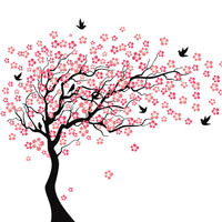 Huge Lovely Pink Cherry Tree And Birds Wall Sticker Large DIY Sweet Pink Tree Background Kid's Room Home Wall Stickers 190*210cm