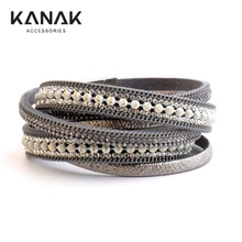 KANAK Brazilian Bracelets For Women Multilayer Leather Bracelet Boho Wrap Ethnic Magnetic Bracelet Fashion Jewelry Gif