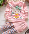 BibiCola 2016 Children autumn baby girls christmas outfits clothing sets kids 2pc suit baby kitty cotton sport jersey underwear