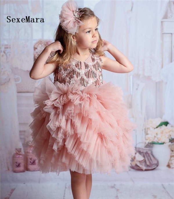 Cute Pink 2019 Baby Girls Dresses O Neck Sequins Girls First Birthday Dresses Christmas Party Gown Flower Girl Dress for Wedding