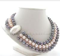 Wholesale prices 16new ^ ^ ^ ^ Beautiful 17 19 3row 9mm Natural Black Pink Round Freshwater Pearl Necklace