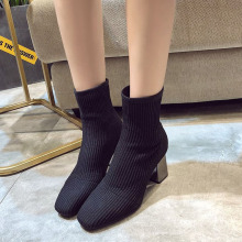 2019 New Knitted Women Sock Boots Female Ankle High Heels Shoes Sneakers Elastic