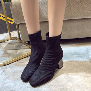 Image 1 - 2019 New Knitted Women Sock Boots Female Ankle Boots High Heels Sock Shoes Women Sneakers Elastic Shoes
