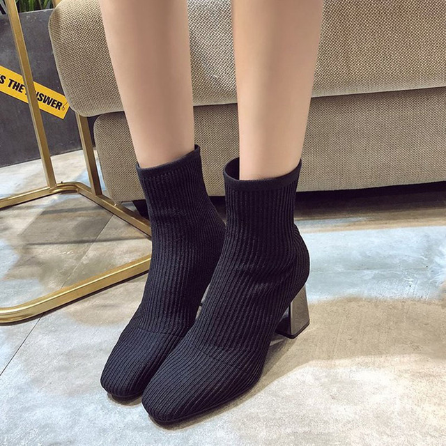 2019 New Knitted Women Sock Boots Female Ankle Boots High Heels Sock Shoes Women Sneakers Elastic Shoes
