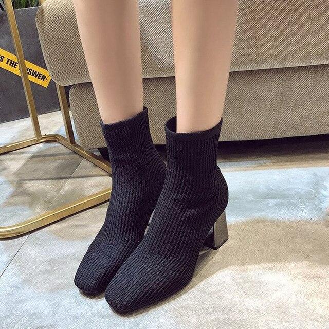 2019 새로운 니트 여성 양말 부츠 여성 발목 부츠 하이힐 양말 신발 여성 운동화 탄성 신발