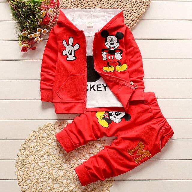 Одежда для новорожденных наборы для мальчиков/девочек микки 3 шт. детская одежда хлопок мультфильм паттен детские костюмы с капюшоном детская одежда спортивная костюм