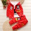 Conjuntos de ropa de bebé niños/niñas mickey 3 unids patten niños trajes de ropa de los niños de dibujos animados de algodón con capucha bebé ropa de sport traje