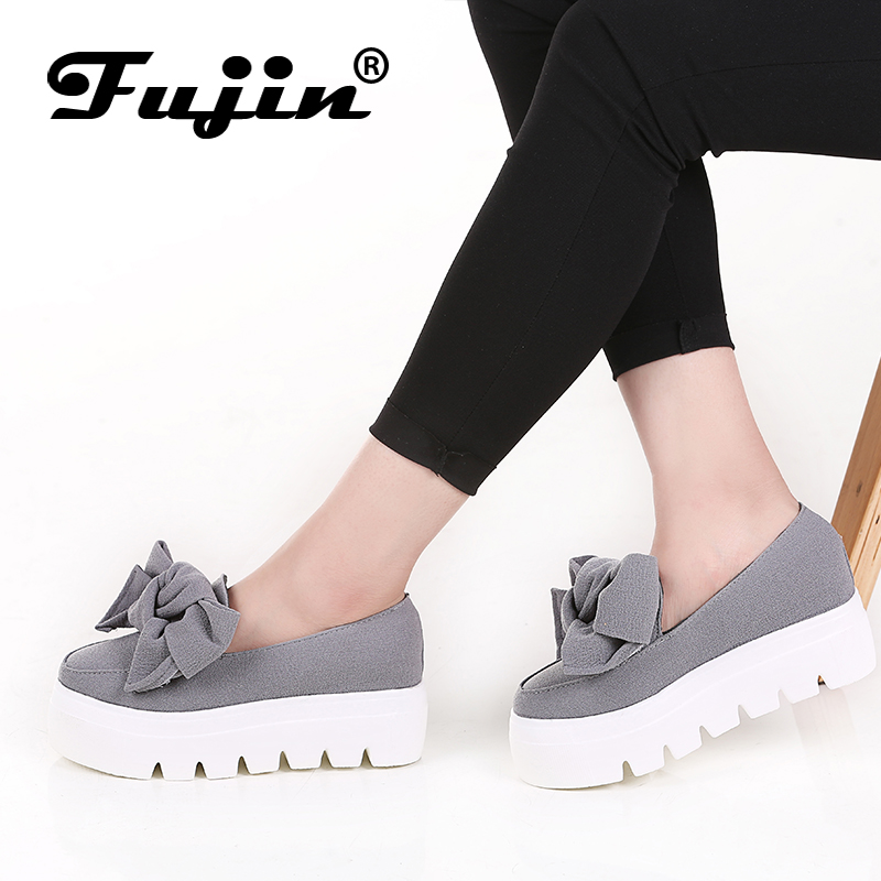 fujin 2018 Autumn spring moccasin womens flats Fashion creepers shoes Bow lady flats loafers Ladies Slip On Platform 5CM Shoes fujin 3cm black grey women spring boots winter fashion women flats bow woman platform shoes slip on espadrilles shoes creepers