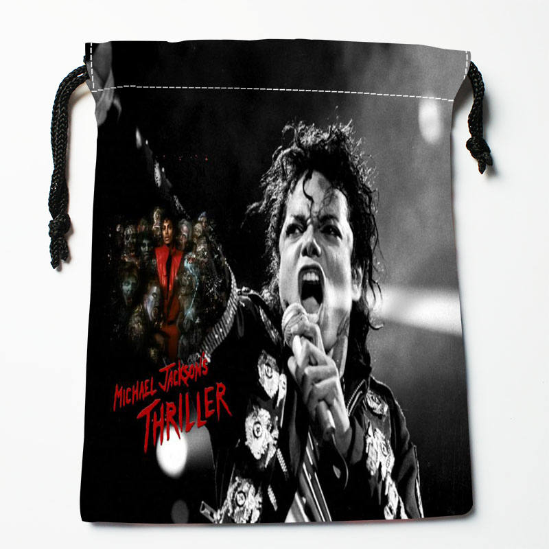 High Quality Custom Michael Jackson Printing Storage Bag Drawstring Bag Gift Satin Bags 27x35cm Compression Type Bags