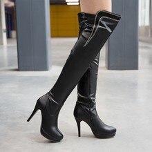 Botas de tacón alto para mujer, zapatos de tacón alto elegantes y sexys, botas de piel con punta redonda y tacón fino, para invierno, 2017