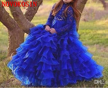 2019 Lovely Royal Blue Girl Pageant Dress Lace Applique Tiered Organza Long Sleeves Ruffles Flower Girls Dress for Wedding Party fashion rhinestone infant children s wedding party wear layers red white royal blue cupcake pageant dress