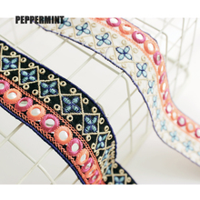 1yard 4.2cm DIY Shoes Bag Accessories Colorful Mirro Trim Flower Embroidered Lace Womens Clothing Decorations