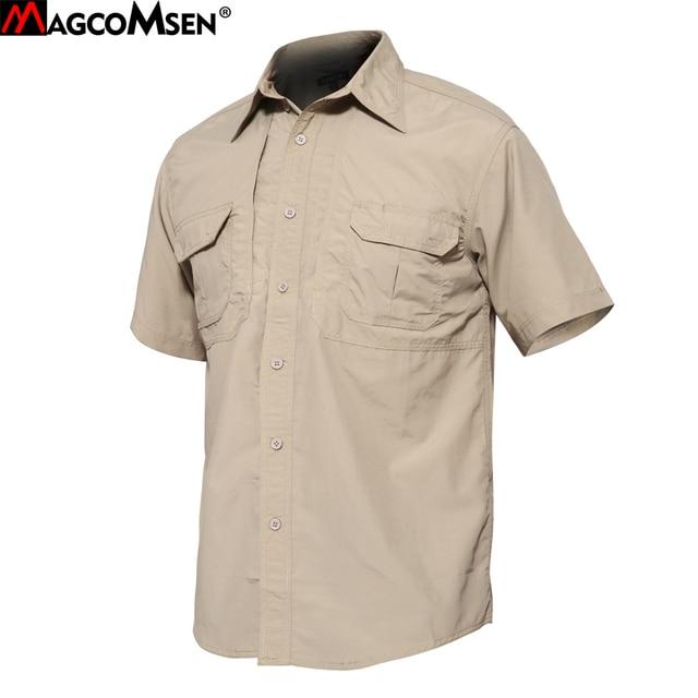 8faad2af350 MAGCOMSEN Tactical рубашки человек летние шорты рукавом быстросохнущая в стиле  милитари армии Рубашки дышащий работы рубашки