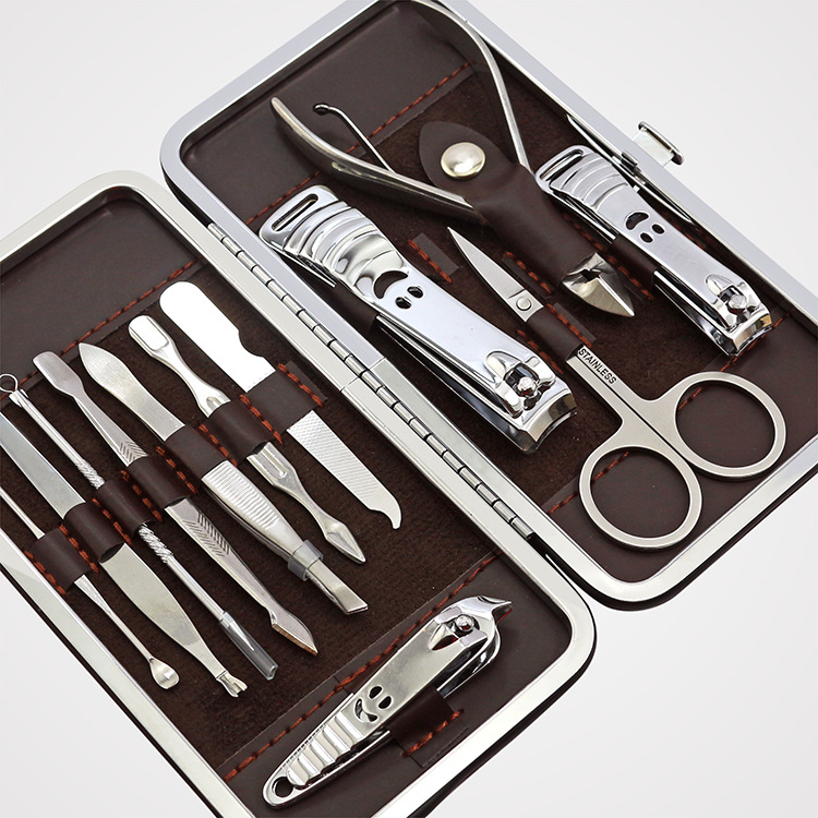 12 PCS Mini Pedicure Manicure Set Nail Cuticle Clippers Cleaner Grooming Case Tool Beauty Care Set Stainless Steel Tool arieslibra 10pcs silver stainless steel nail cuticle scissor manicure pedicure tools kits double fork dead skin scissor