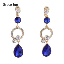 12 Colors Choose Rhinestone Crystal Hollow-out Water Drop Shape Clip on Earrings Without Piercing for Women No Ear Hole Earrings