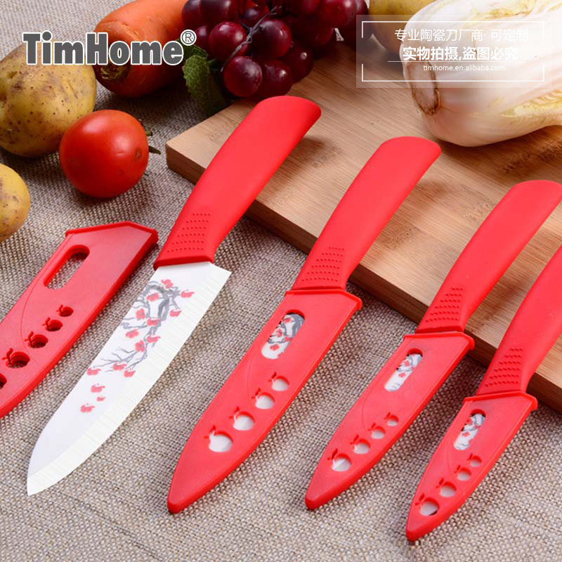 Originals Timhome Brand Zirconia Ceramic Knife set 3 4 5 6 Kitchen Knife with Covers as