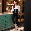 Dabuwawa 2016 spring balck and white high waist jumpsuit