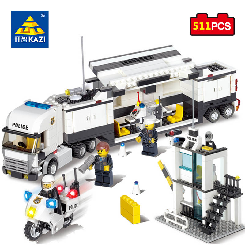 KAZI Toys Police Station Building Blocks Bricks Educational Toys Compatible Legos City Birthday Gift Toy For Kids Brinquedos kazi fire department station fire truck helicopter building blocks toy bricks model brinquedos toys for kids 6 ages 774pcs 8051