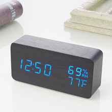 Wooden LED Alarm Clock with Temperature Humidity Sounds Control Calendar LED Display Electronic Desktop Digital Table Clocks