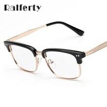 1a66fc82bb6 Ralferty Designer Unisex Gold Rimmed Glasses Frame With Clear Lens Women  Men Square Eyeglasses Myopia Optic