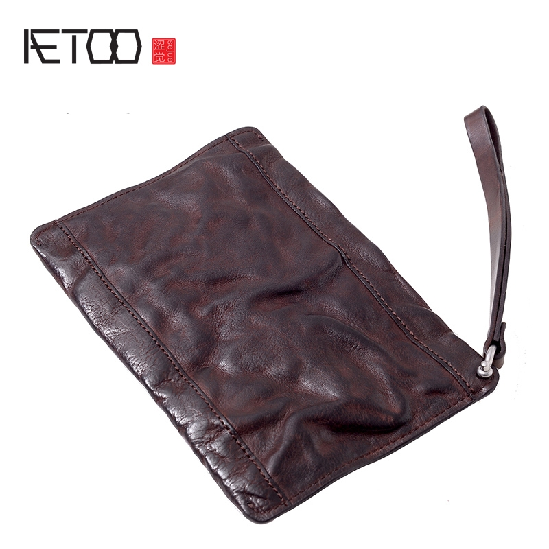AETOO Handmade head cowhide wallet male ultra thin retro trend hand bag leather mobile phone bag