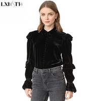 LXMSTH Europe And America Women Velvet Top Fashion Ruffles Shirt Long Sleeve T Shirts Turn Down