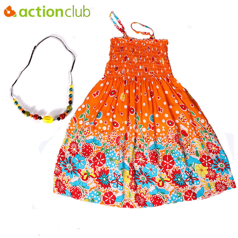 Actionclub Girls Summer Dresses Bohemian Rainbow Beach Dress for Girls with Necklace Cotton Vestidos Infantis Children Clothing женское платье bohemian i women summer beach dress 2015 o vestidos w0014