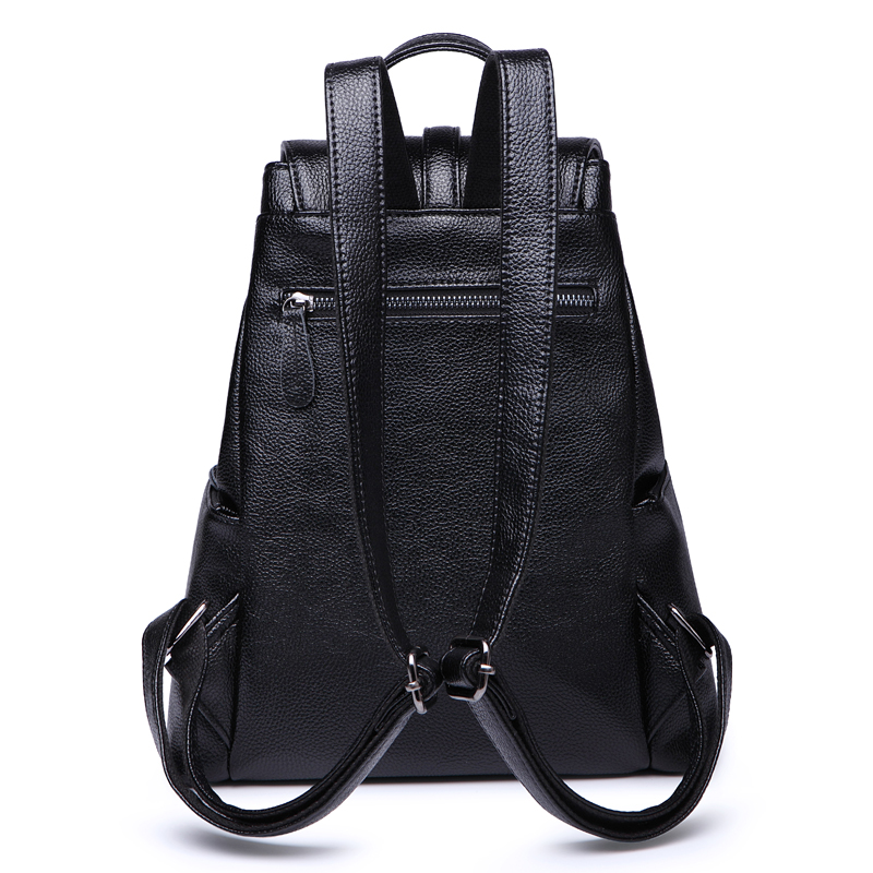 New Women Backpack Genuine Leather backpacks for women with zipper school bag for teenage girls travel backpack shoulder bag