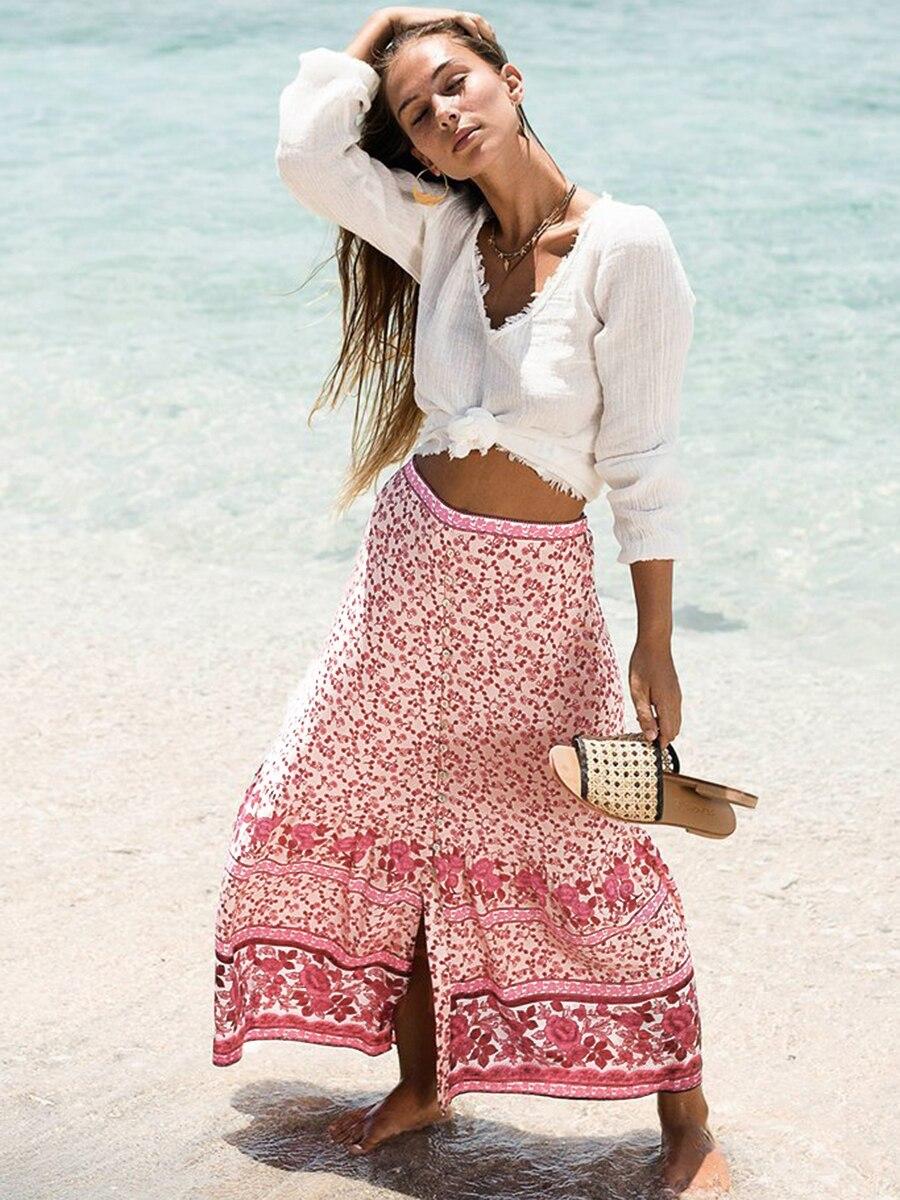 Dahlia Floral Maxi Skirt Women High Waist Front Split Pink Vintage Skirts 2019 Summer Clothes Beach Boho Loose Chic Long Skirt