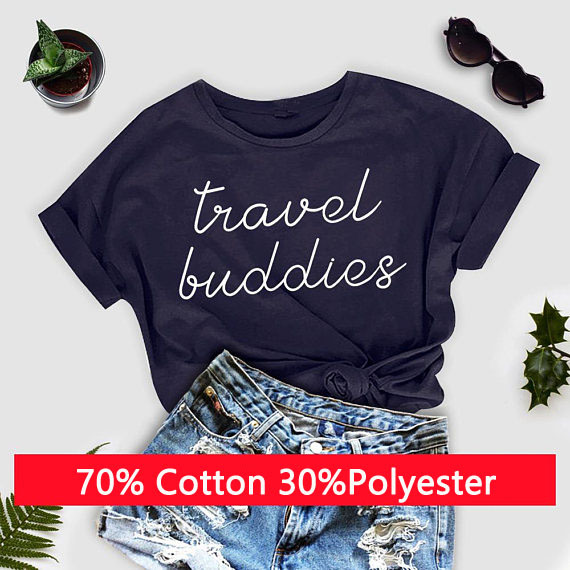 d4d6a2524e9 Travel Buddies T-Shirt Casual Wanderlust Vacation Shirt Matching Tee  Couples Aesthetic Hipster Tops Tumblr Outfit tshirts