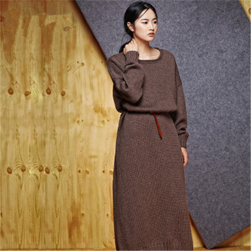 100% Hand Made Pure Wool Knit Women Fashion Oneck Solid Long Loose Pullover Sweater One&over Size