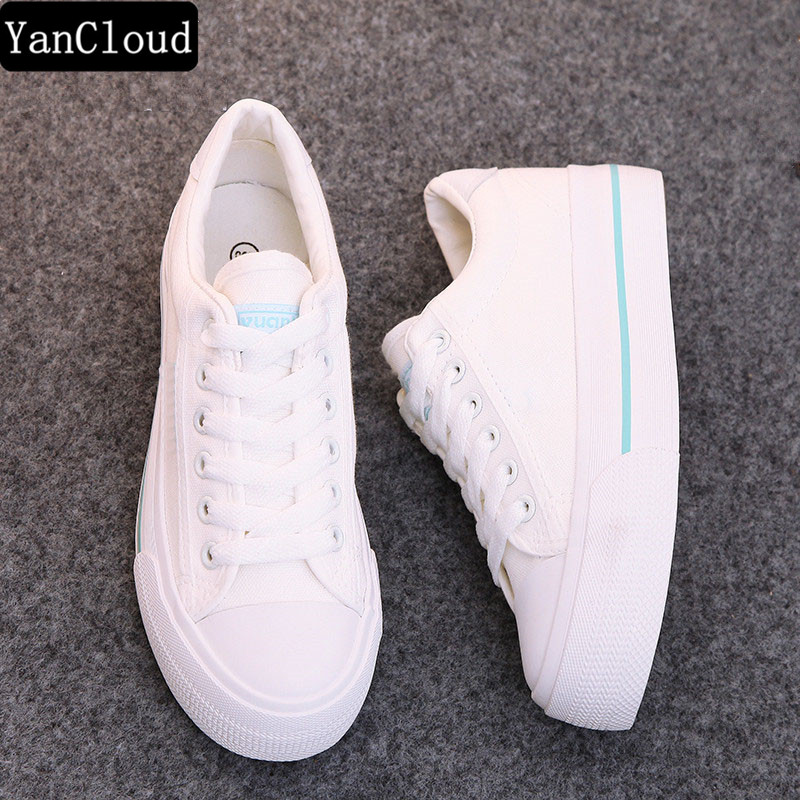 Breathable White Shoes Woman Platform Canvas Shoes New 2018 Women Thick Sole Casual Shoes Zapatos Mujer женские кеды shoes women huarache zapatos mujer ws6 4 shoes women5354