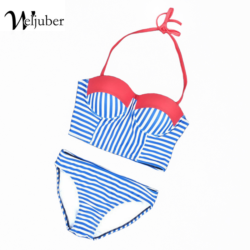 Women Bikini Set 2017 New Padded Striped Bikinis Sexy Push Up Swimwear Female Swimsuit Bathing Suit